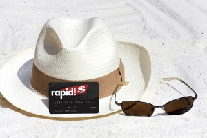 cowboy hat on beach with rapid! paycard