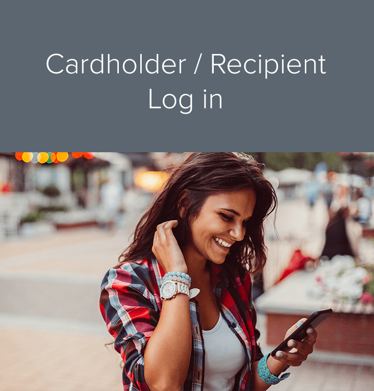 Cardholder and recipient log in